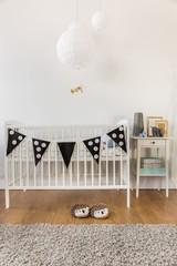 White wooden crib
