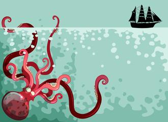 Giant octopus under the ocean