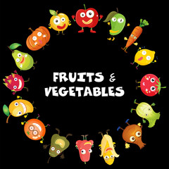 Fruits and vegetables with face