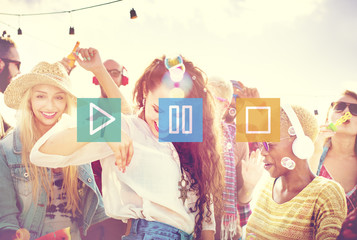 Buttons Multimedia Play Pause Stop Concept