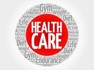 Health care circle stamp word cloud, fitness, sport, health concept