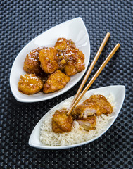 chicken in honey sauce with rice