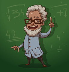 Vector cartoon scientist. Cartoon image of the scientist with white hair and white beard wearing glasses, in a white coat on background of green blackboard.