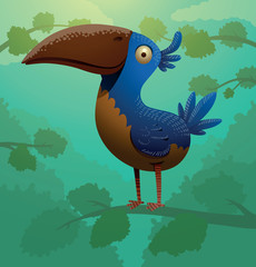 Vector funny blue bird on a tree. Cartoon image of a funny blue bird with a yellow belly, sitting on a tree branch on a green leafy background.