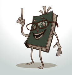 Vector funny book green. Cartoon image of a funny smiling green book with glasses with arms and legs on a light background.