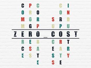 Finance concept: Zero cost in Crossword Puzzle