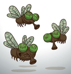 Vector three flies. Cartoon image of three funny flies with green eyes and transparent wings on a light background.