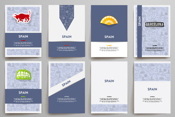 Corporate identity vector templates set with doodles Spain theme