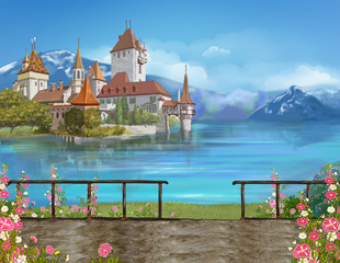 Western Europe. Switzerland. Oberhofen. Author's illustration.  Castle on Lake Lunskoye.