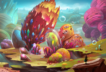 Illustration: Colorful Stone World - The girl arrives at the dream land, but she feels something strange (danger even worse) is waiting. Shall she move on? - Scene Design - Fantastic/Realistic Style