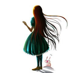 Illustration: The Girl - with her pet - Character Creation - Realistic/Fantastic Style