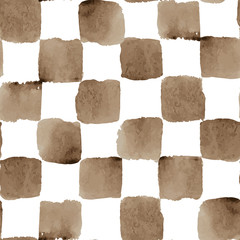 Vector Watercolor Seamless Checkered Pattern with Brown Squares