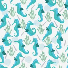 Seahorse pattern. Seamless pattern background.
