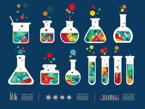 Vector illustration of icon beaker  collection