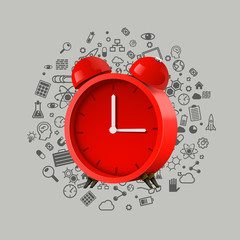 Realistic red alarm clock. Clean vector