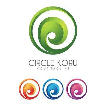 Circle Koru Logo - Vector - Illustration