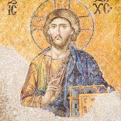Istanbul, Turkey - Jesus Christ mosaic at Hagia Sophia
