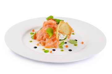 The salmon with cream cheese closeup