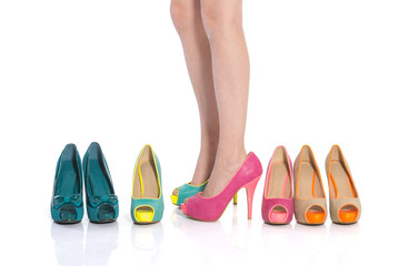 girl trying  shoes   teenage girls choose shoes