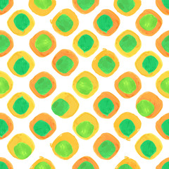 Vector Watercolor Seamless Pattern With Orange and Green Dots