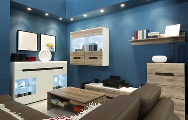 Interior of a blue living room