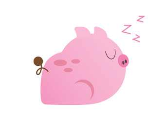 cute little pink pig character design vector
