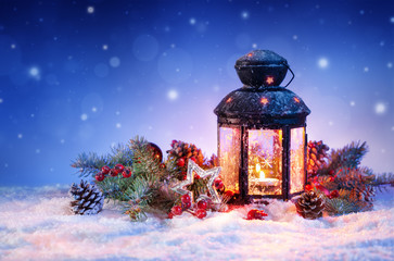 Snowy Lantern On Snow With Christmas Decoration