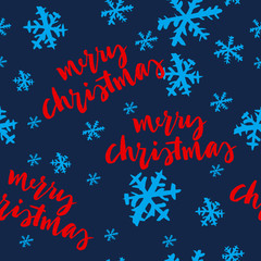 Seamless Christmas pattern. Hand lettering. Snowflakes. New Year