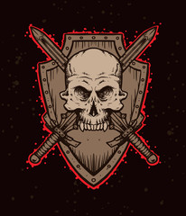 Vector emblem skull with swords and shield. Monochrome image of a human skull with swords and shield, with the red tracings on a dark background. Looks like a tattoo.
