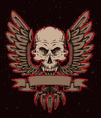 Vector emblem skull with wings. Monochrome image of a human skull with wings and banner below, with the red tracings on a dark background. Looks like a tattoo.