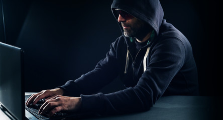 Computer hacker hacking security system