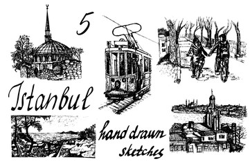 set of 5 hand-drawn  ink  sketch vector illustrations of Istanbul