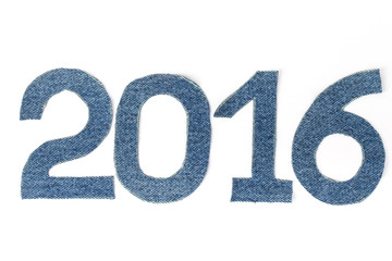 Denim digits 2016 on light background