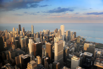 Fototapete - Aerial View of Downtown Chicago