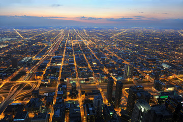 Aufkleber - View of City of Chicago from the Air