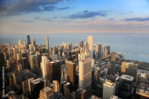 Fototapete Aerial View of Downtown Chicago