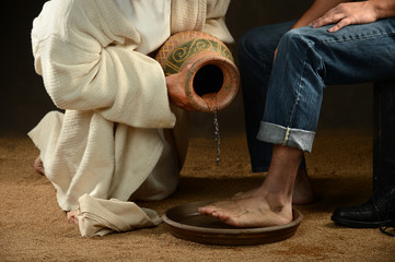 Jesus Washing Feet of Modern Man