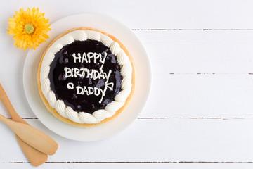 Happy Birthday Cake Background / Happy Birthday Cake / Happy Birthday Cake on White Wooden Background
