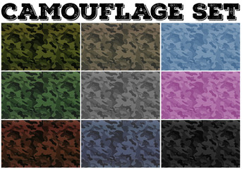 Camouflage set with military theme
