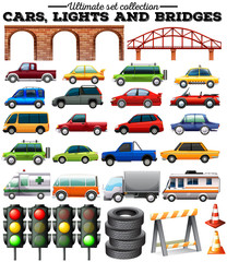 Different kind of cars and objects on road