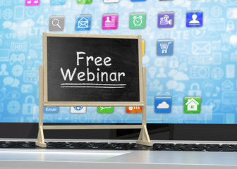 Laptop with chalkboard, free webinar, online education concept