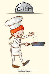 Female chef cooking with a pan