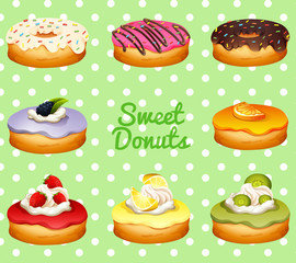 Different flavor of donuts