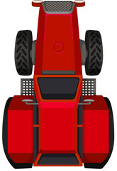 Top view of red tractor