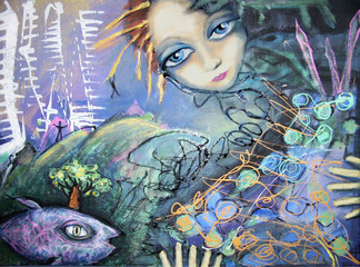 Abstract picture with fish and blue-eyed red-haired girl. Expression acrylic painting. Strange dream of young girl.