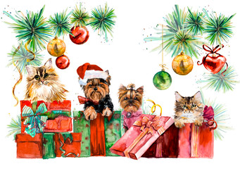 Dogs and cats. New year card. Hand drawn watercolor illustration