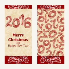 Merry Christmas greeting card. Abstract Happy New Year 2016 background.  Hand drawn inscription. Vector illustration