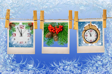 Photos frames on christmas background