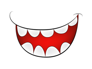 Cartoon smile, mouth, lips with teeth. vector mesh illustration isolated on white background