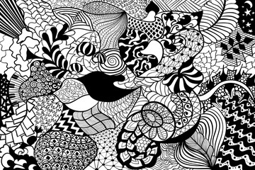 Floral hand drawn zentangle, ethnic pattern. Black and white abstract ornate background.